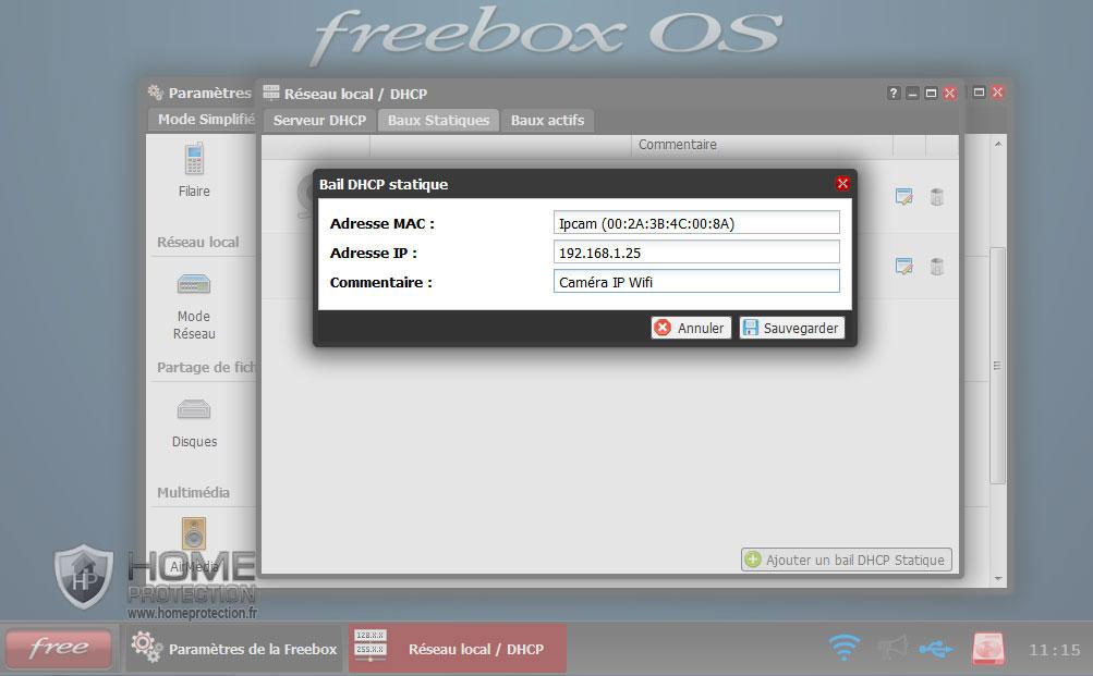 Formulaire d'ajout d'un bail statique pour la caméra IP sur la Freebox v6