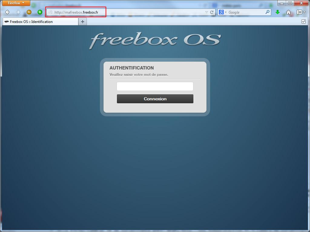 Accès à http://mafreebox.freebox.fr