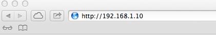 Saisie de l'adresse IP de la caméra dans la barre d'adresse du navigateur internet