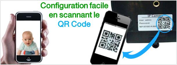 Scannez le QR Code sous la Caméra IP