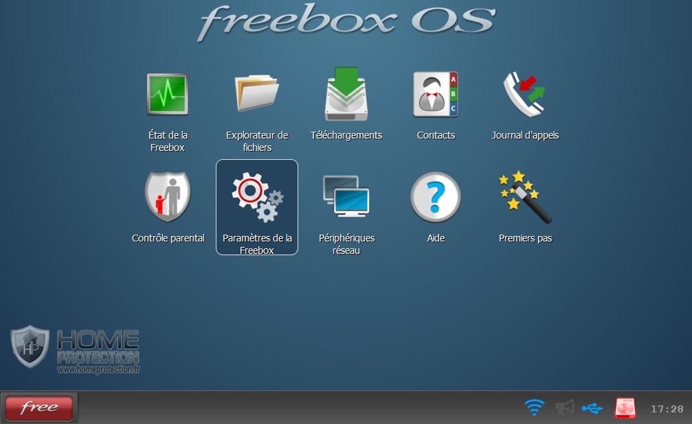 Accès au paramètres de la Freebox