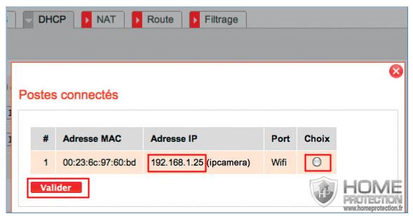 Menu DHCP de la box de SFR