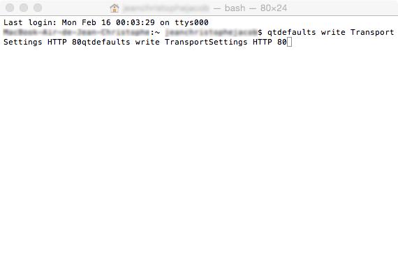 Ligne de commande qtdefaults write TransportSettings HTTP 80