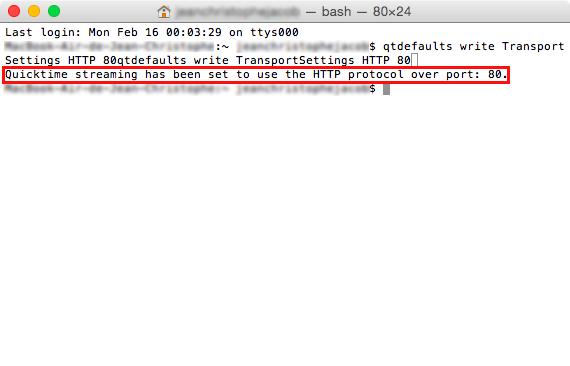Réponde de terminal pour la commande qtdefaults write TransportSettings HTTP 80